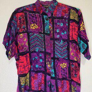 Vintage Jane Ashley Button Up Shirt Purple Size M